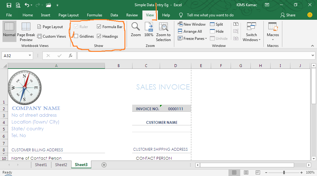 invoice template - remove gridlines
