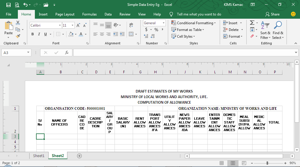 data entry{ formatting and customization
