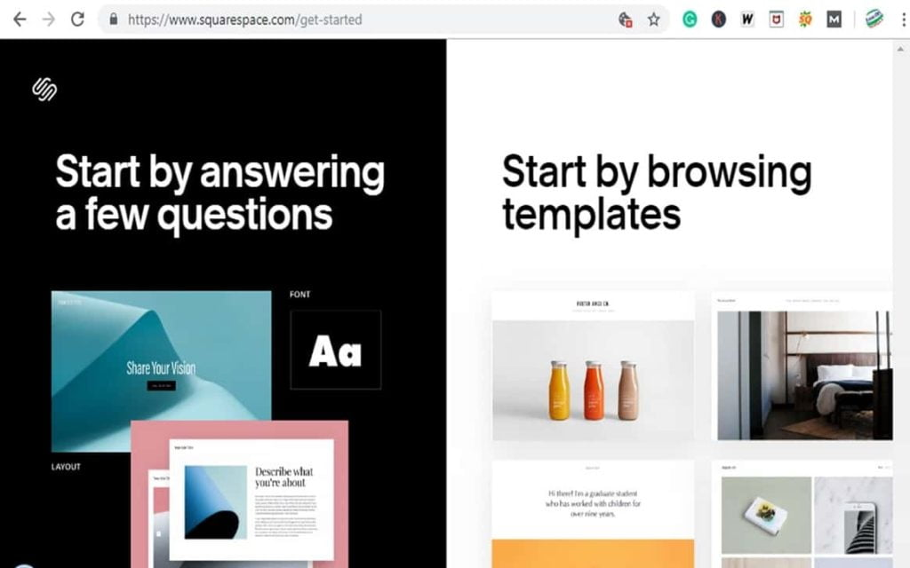 Create your site with squarespace