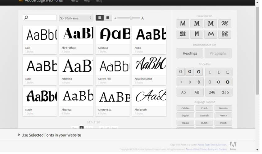 adobe edge: available fonts
