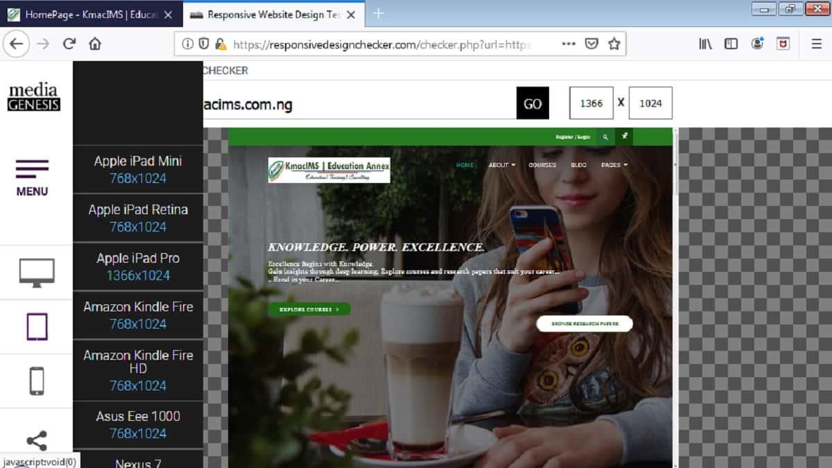 responsive web layout using @media rule